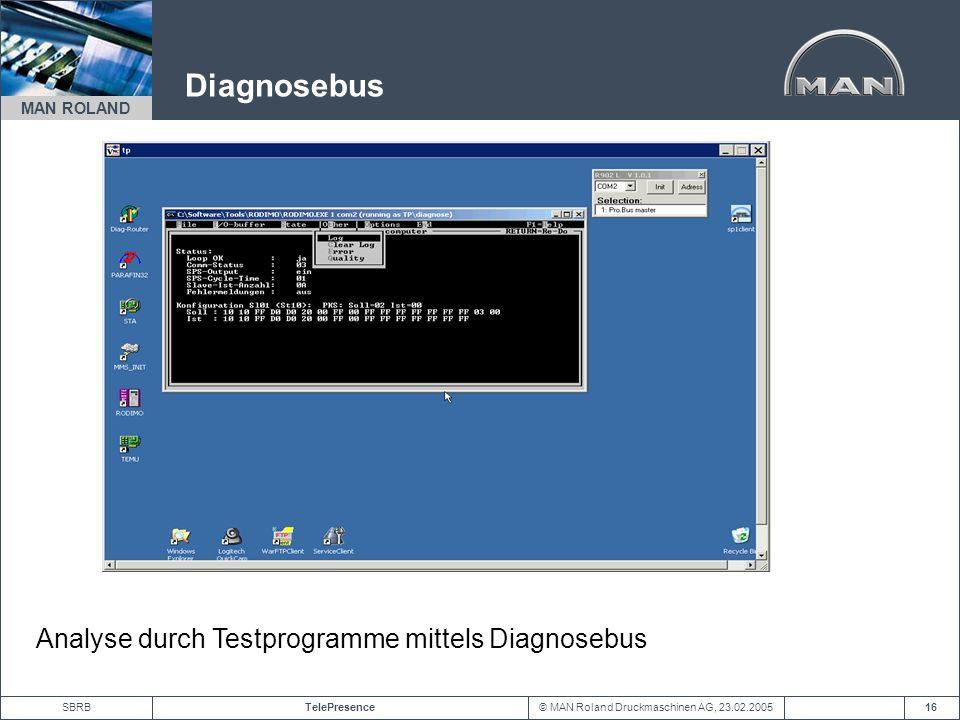 Diagnosebus Analyse durch Testprogramme mittels Diagnosebus