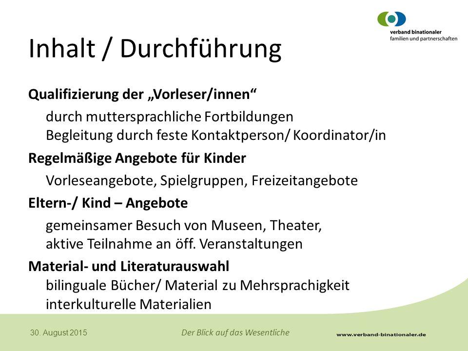 """Inhalt / Durchführung Qualifizierung der """"Vorleser/innen"""