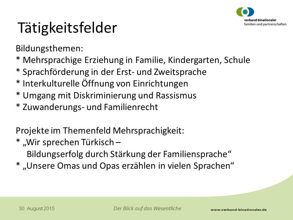 Tätigkeitsfelder Bildungsthemen: