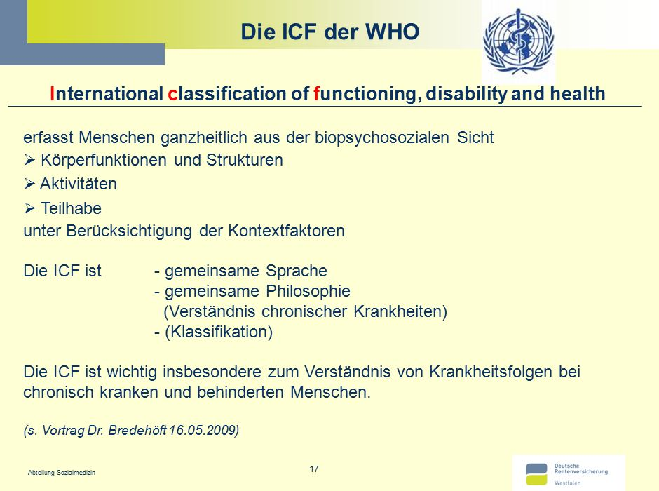 Die ICF der WHO International classification of functioning, disability and health. erfasst Menschen ganzheitlich aus der biopsychosozialen Sicht.