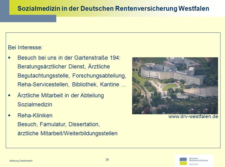 Sozialmedizin in der Deutschen Rentenversicherung Westfalen