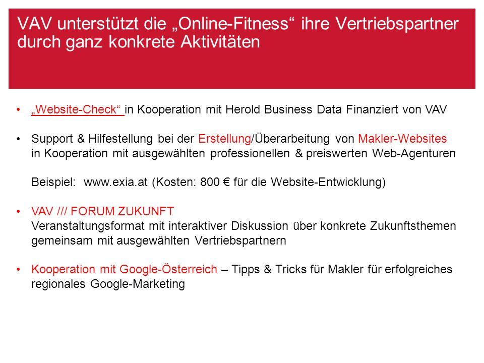 """VAV unterstützt die """"Online-Fitness ihre Vertriebspartner Beispiel Website www.exia.at"""