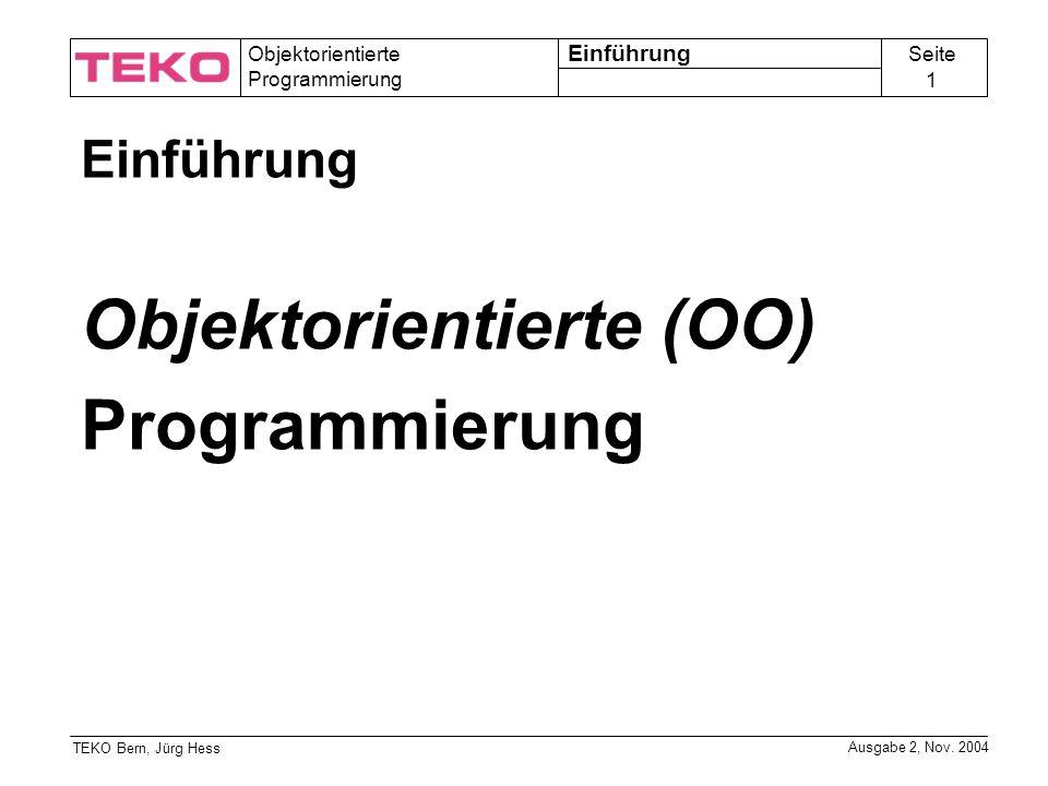 Objektorientierte (OO) Programmierung