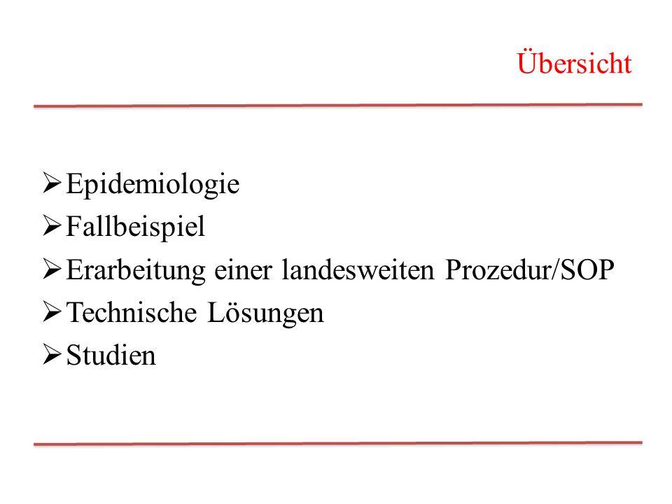 Übersicht Epidemiologie. Fallbeispiel. Erarbeitung einer landesweiten Prozedur/SOP. Technische Lösungen.