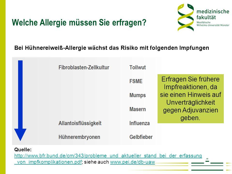 Welche Allergie müssen Sie erfragen
