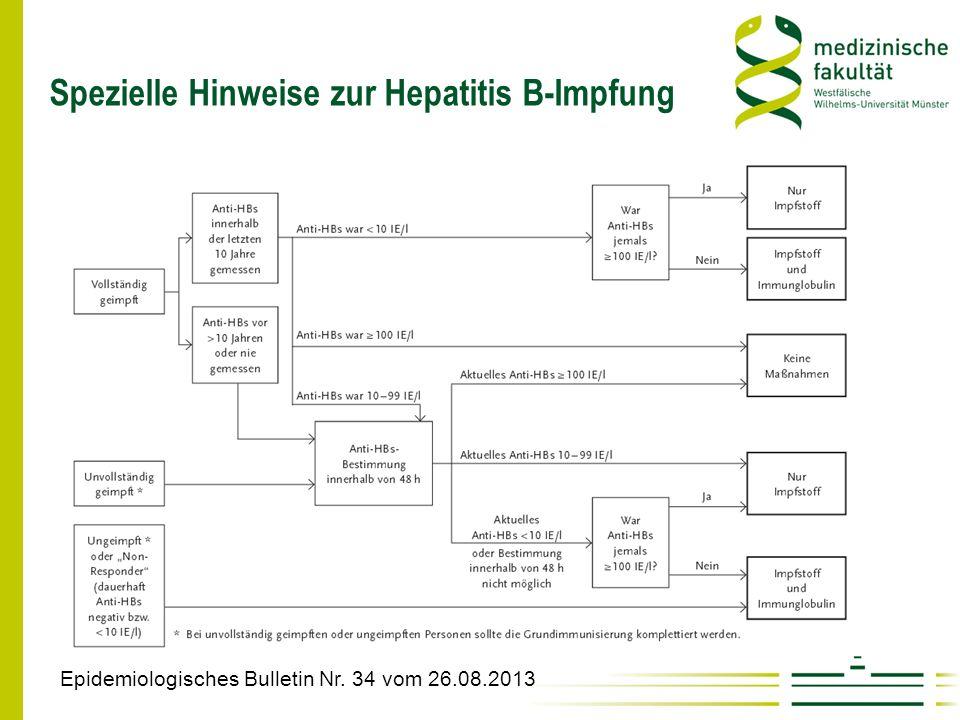 Spezielle Hinweise zur Hepatitis B-Impfung