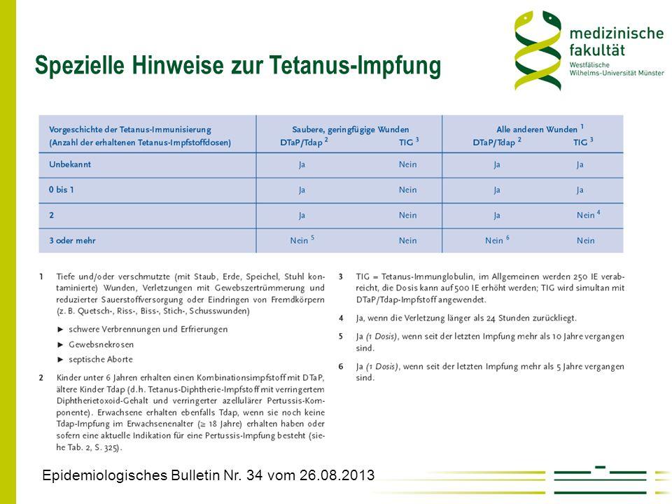 Spezielle Hinweise zur Tetanus-Impfung