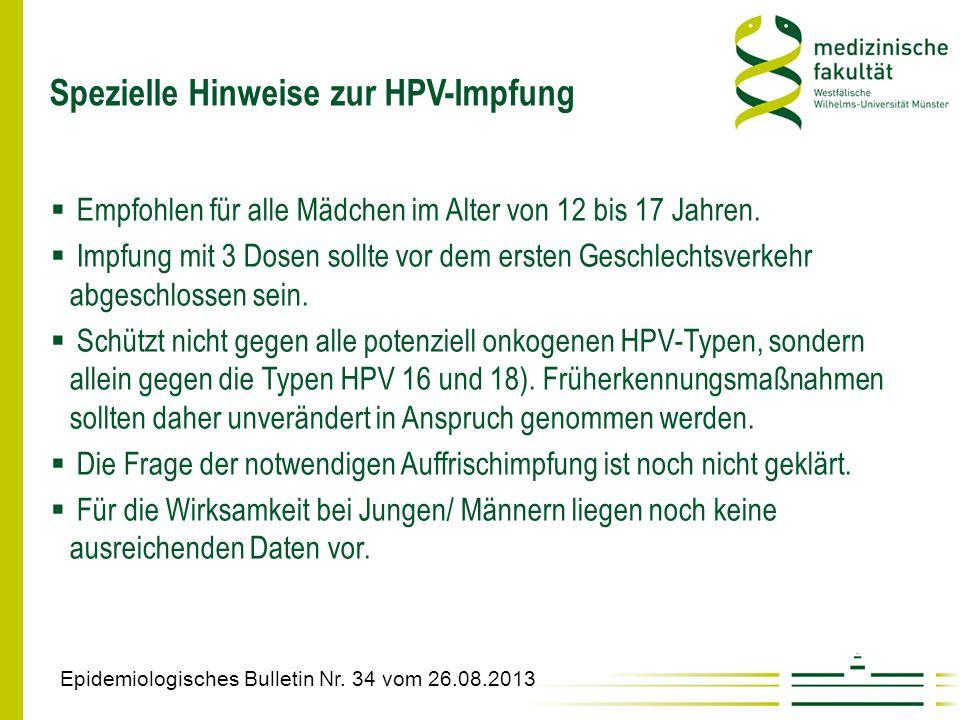 Spezielle Hinweise zur HPV-Impfung