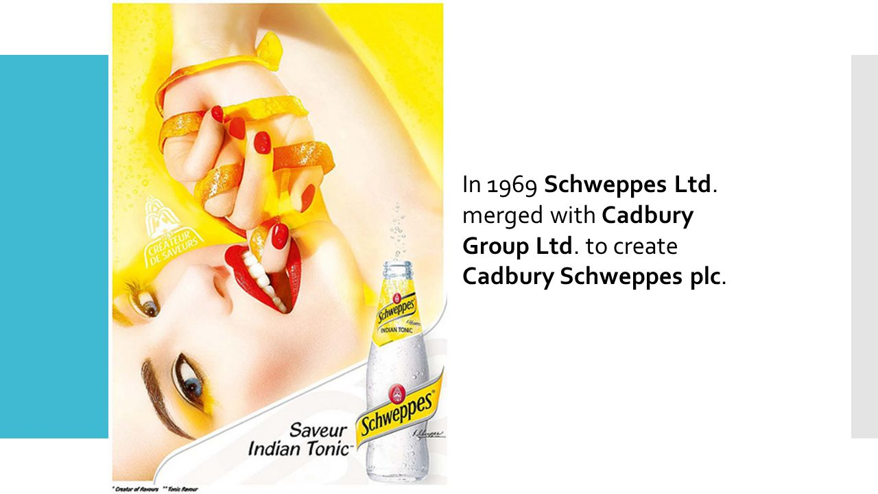 In 1969 Schweppes Ltd. merged with Cadbury Group Ltd