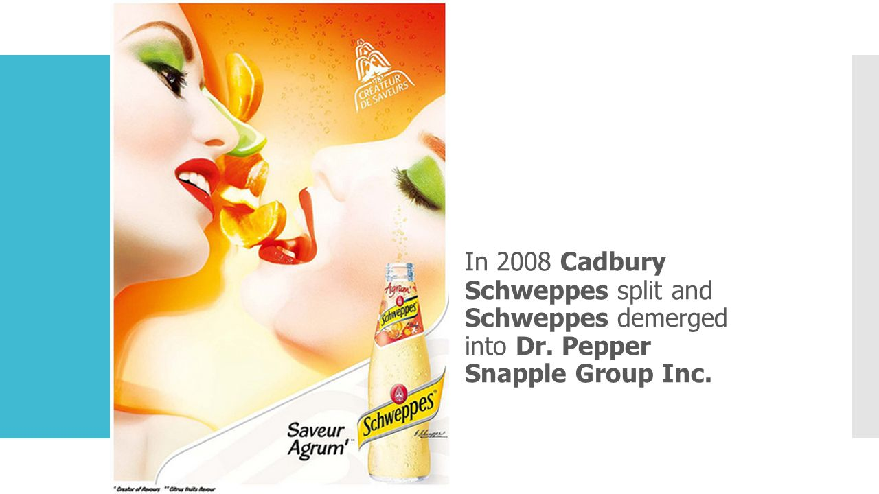 In 2008 Cadbury Schweppes split and Schweppes demerged into Dr
