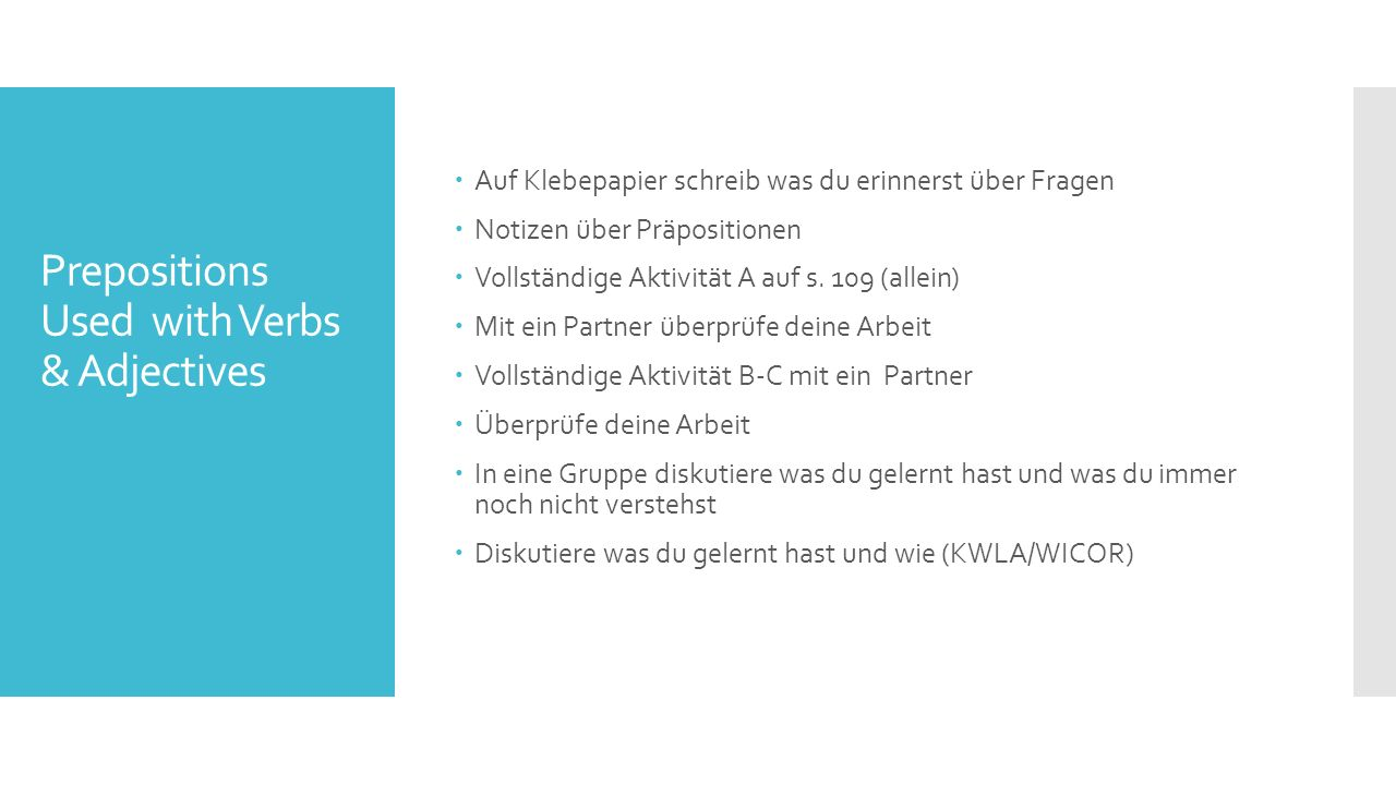 Prepositions Used with Verbs & Adjectives