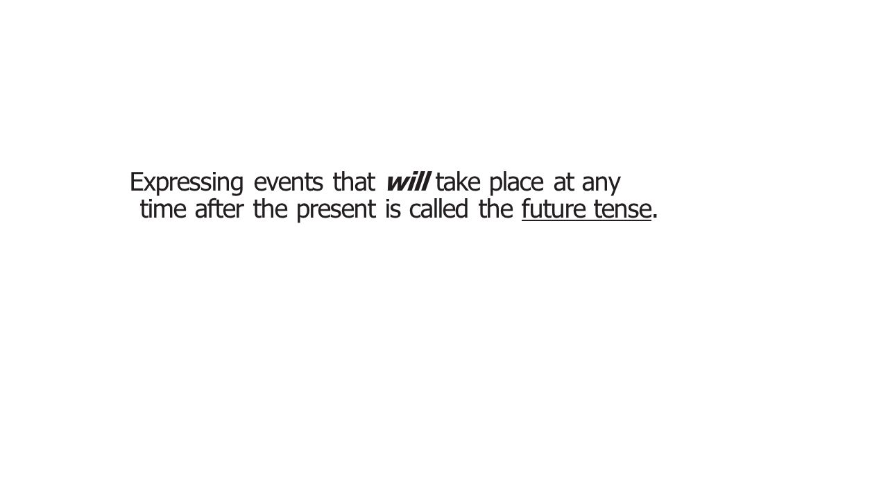 Expressing events that will take place at any time after the present is called the future tense. .