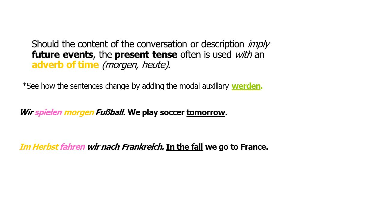 Should the content of the conversation or description imply