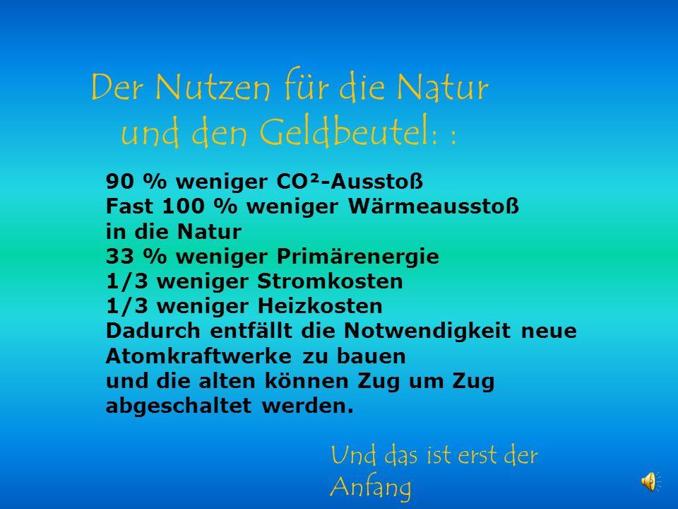 Der Nutzen für die Natur und den Geldbeutel: :