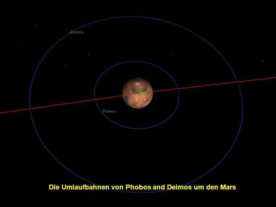 Die Umlaufbahnen von Phobos and Deimos um den Mars