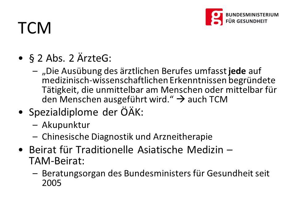 TCM § 2 Abs. 2 ÄrzteG: Spezialdiplome der ÖÄK: