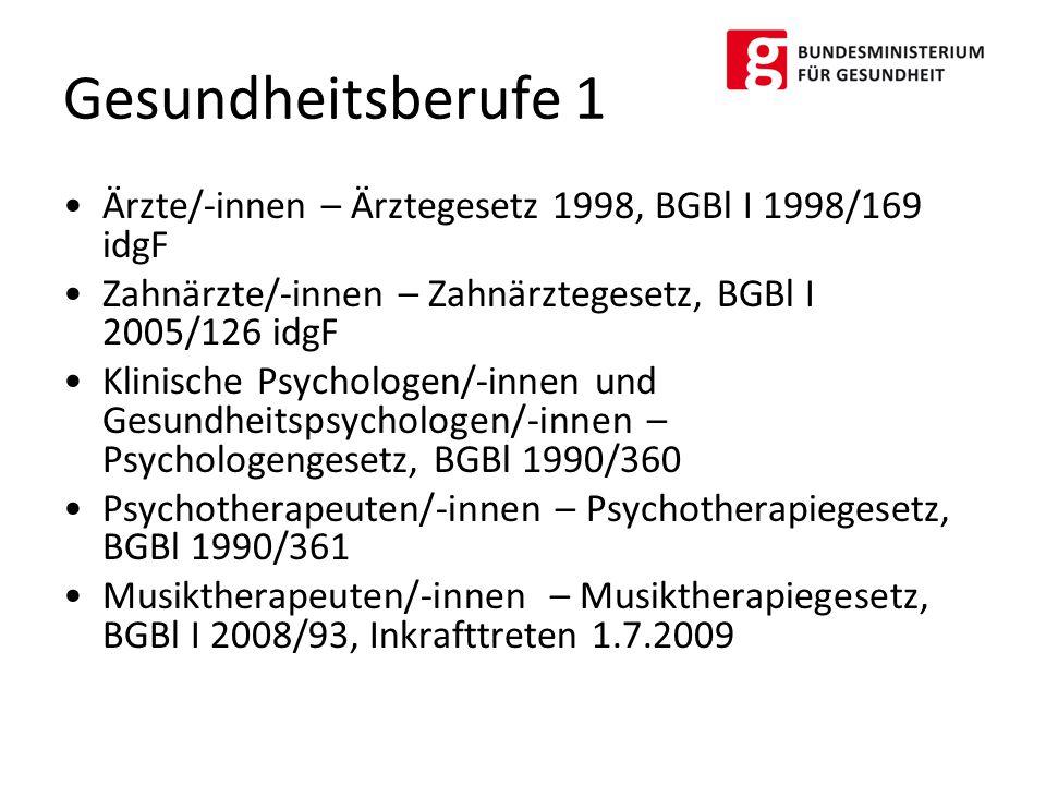 Gesundheitsberufe 1 Ärzte/-innen – Ärztegesetz 1998, BGBl I 1998/169 idgF. Zahnärzte/-innen – Zahnärztegesetz, BGBl I 2005/126 idgF.