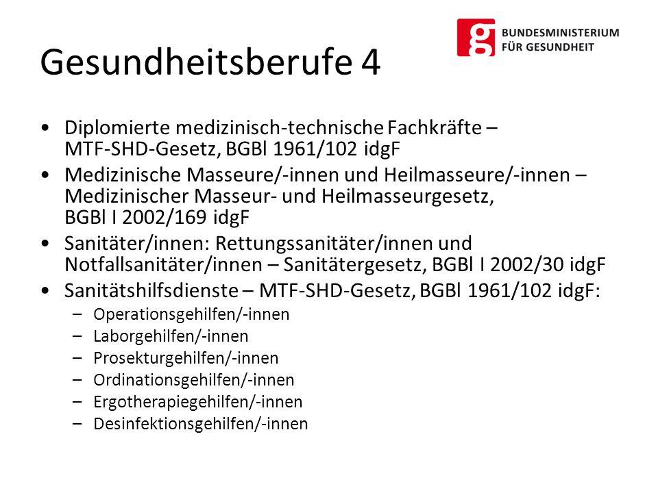 Gesundheitsberufe 4 Diplomierte medizinisch-technische Fachkräfte – MTF-SHD-Gesetz, BGBl 1961/102 idgF.
