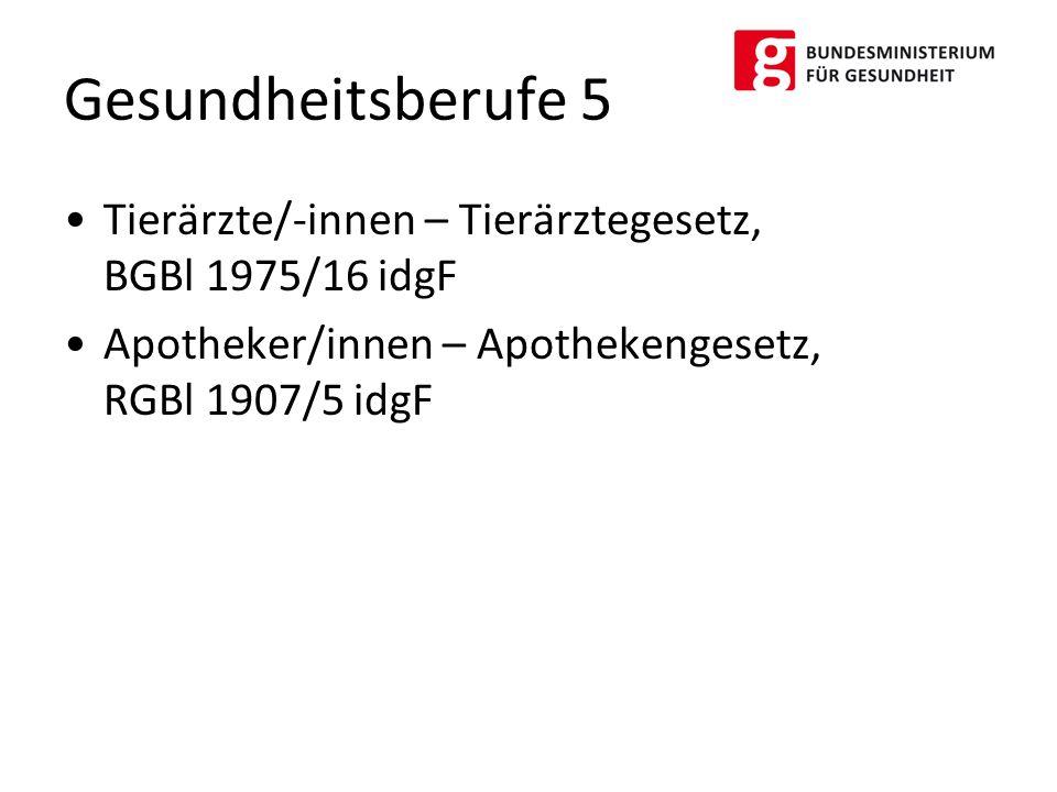 Gesundheitsberufe 5 Tierärzte/-innen – Tierärztegesetz, BGBl 1975/16 idgF. Apotheker/innen – Apothekengesetz, RGBl 1907/5 idgF.