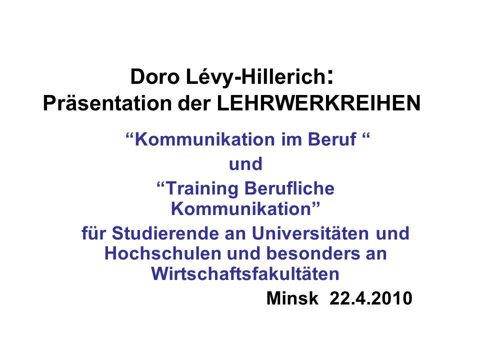 Doro Lévy-Hillerich: Präsentation der LEHRWERKREIHEN