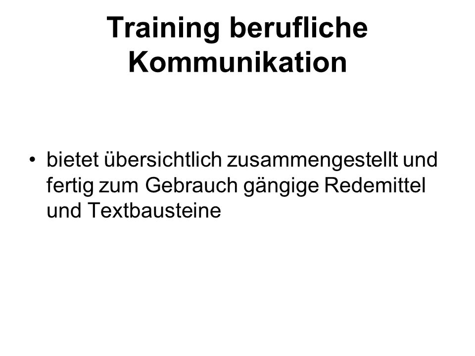 Training berufliche Kommunikation
