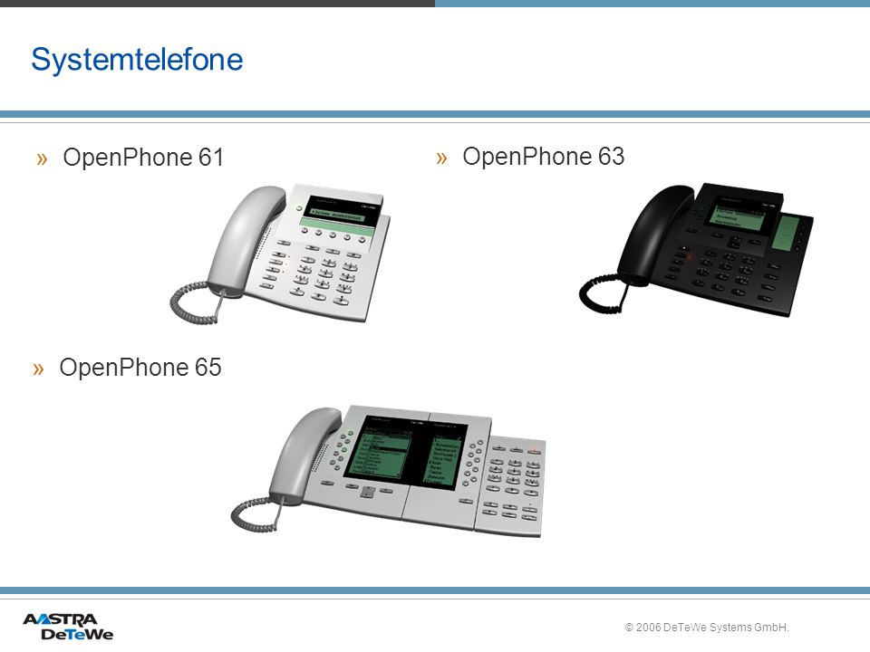 Systemtelefone OpenPhone 61 OpenPhone 63 OpenPhone 65