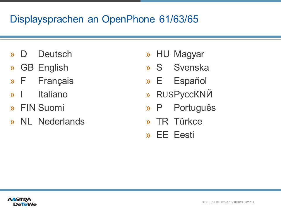 Displaysprachen an OpenPhone 61/63/65