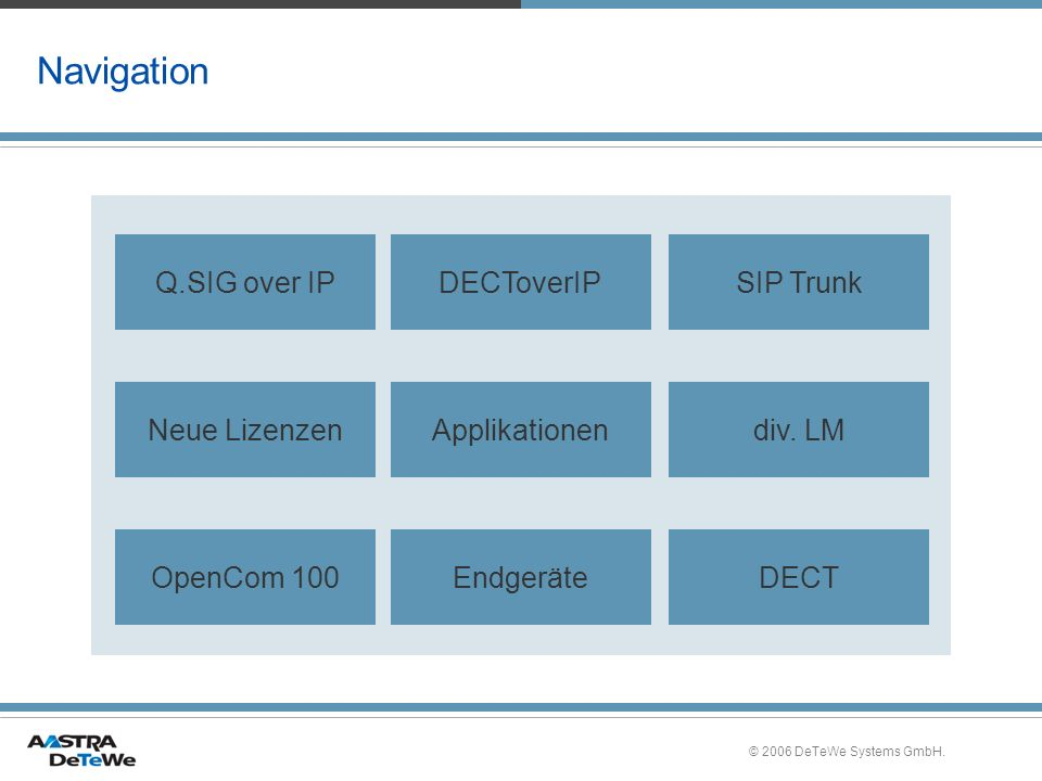 Navigation Q.SIG over IP DECToverIP SIP Trunk Neue Lizenzen