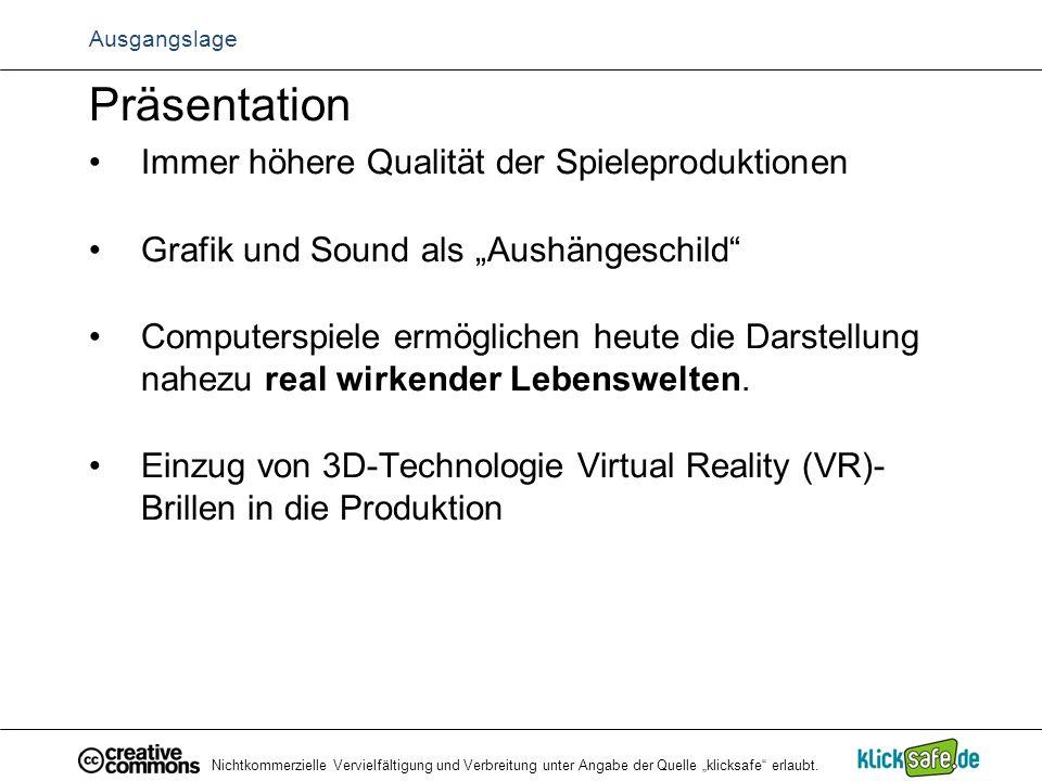 Präsentation Immer höhere Qualität der Spieleproduktionen