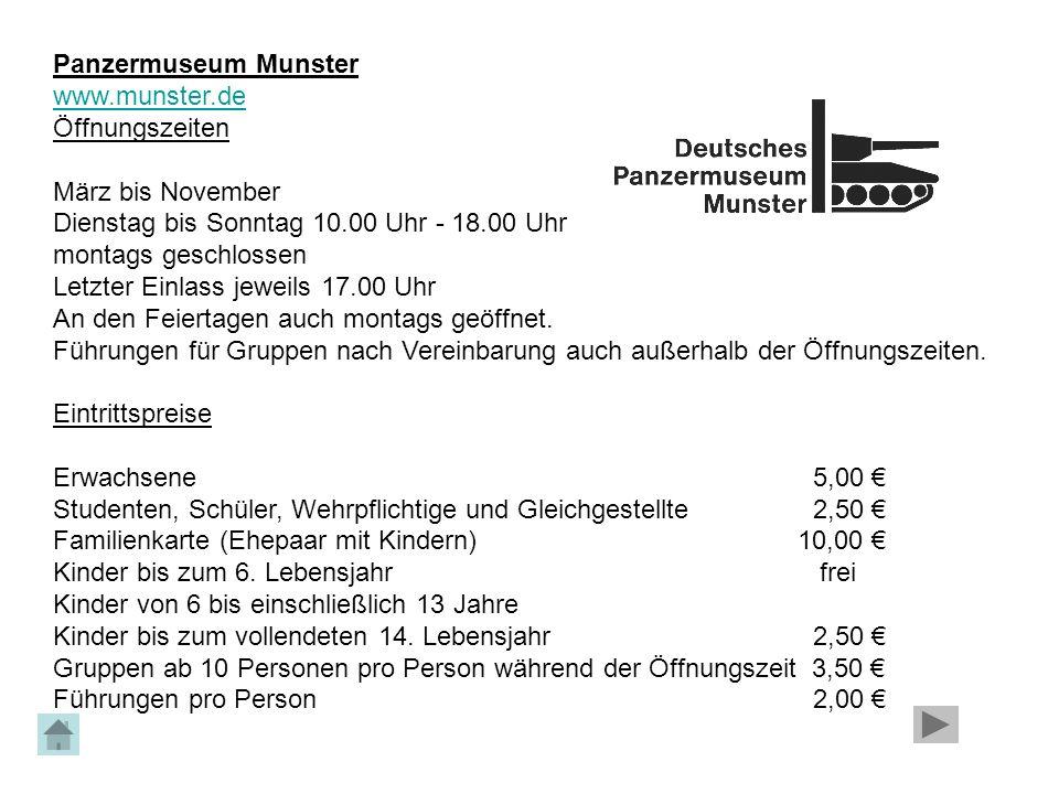 Panzermuseum Munster www.munster.de. Öffnungszeiten.