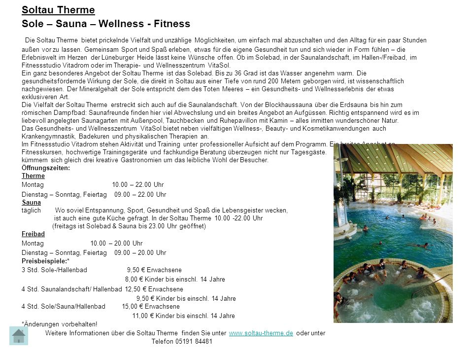Soltau Therme Sole – Sauna – Wellness - Fitness.