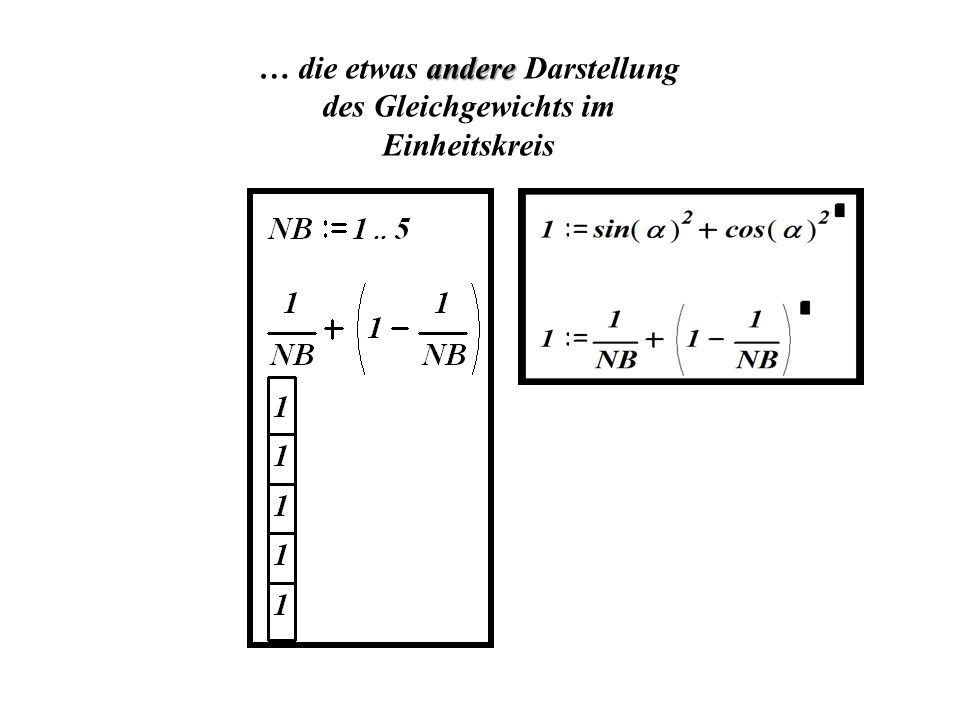 … die etwas andere Darstellung des Gleichgewichts im Einheitskreis