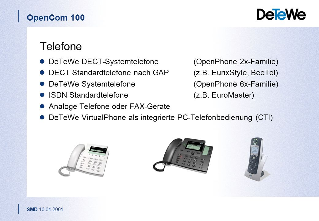 Telefone DeTeWe DECT-Systemtelefone (OpenPhone 2x-Familie)