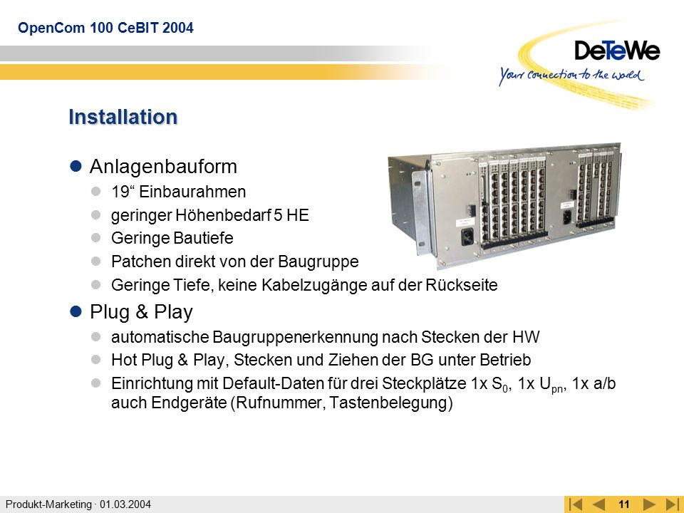 Installation Anlagenbauform Plug & Play 19 Einbaurahmen