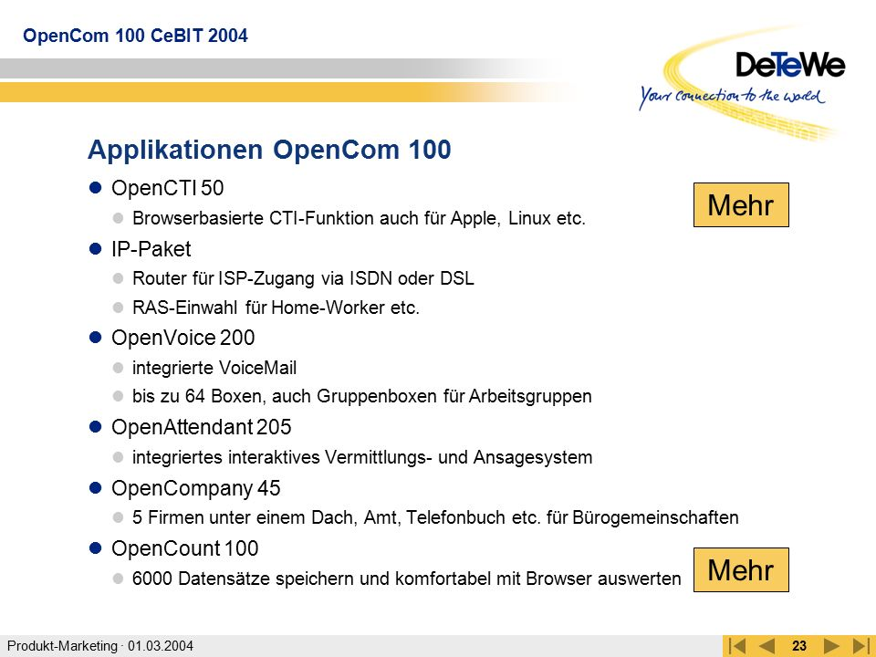 Applikationen OpenCom 100