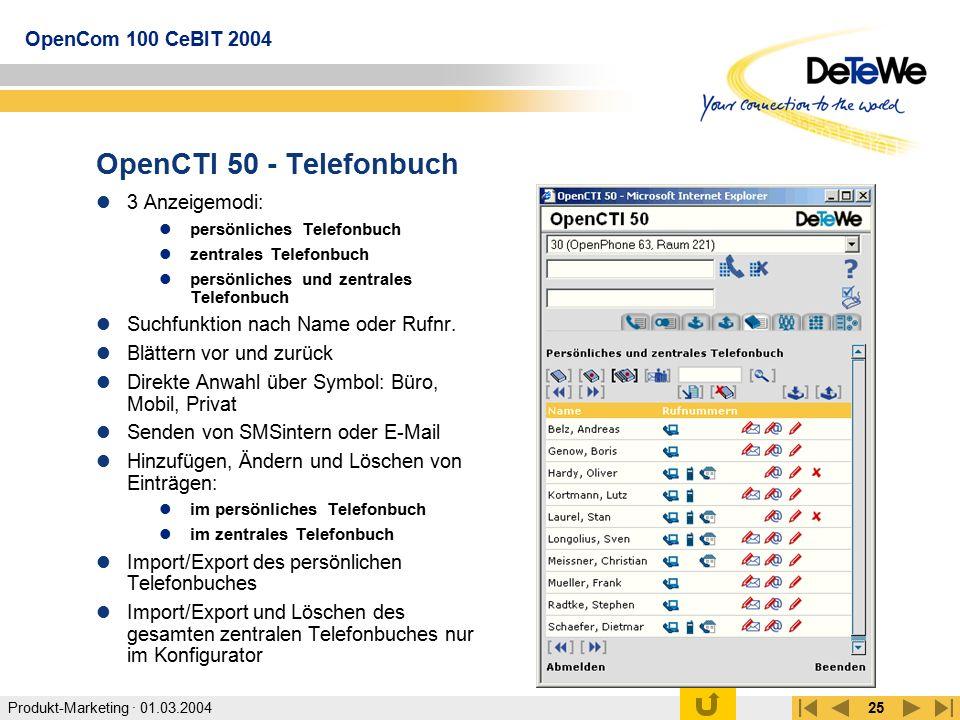 OpenCTI 50 - Telefonbuch 3 Anzeigemodi:
