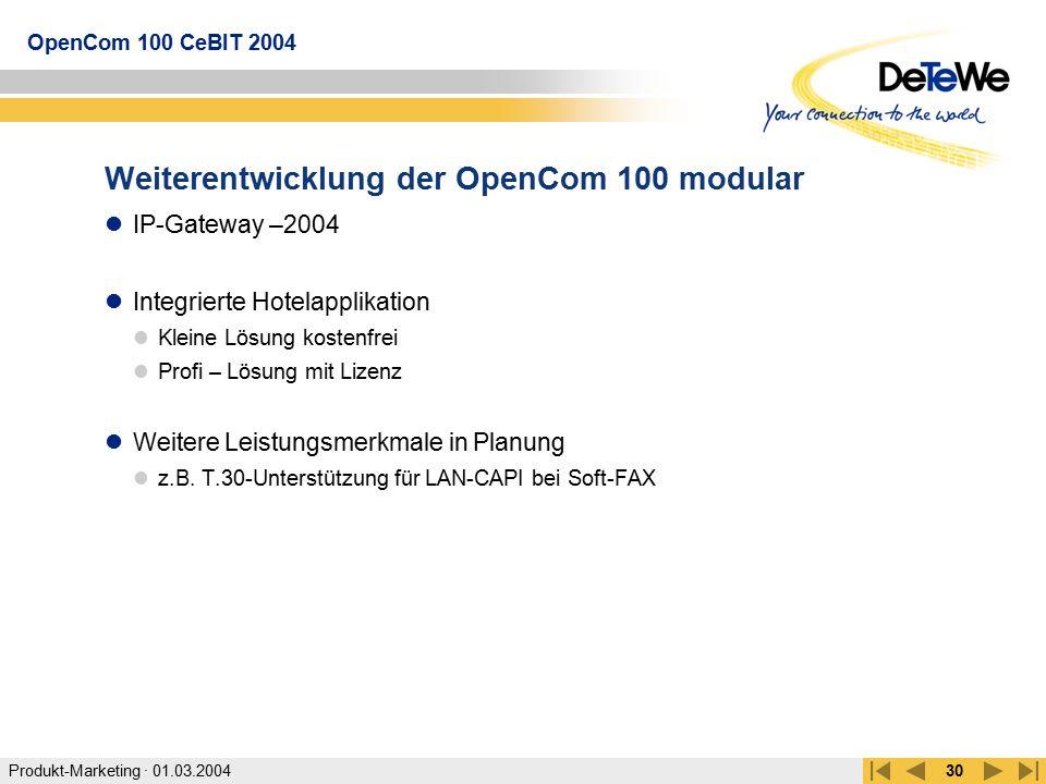 Weiterentwicklung der OpenCom 100 modular