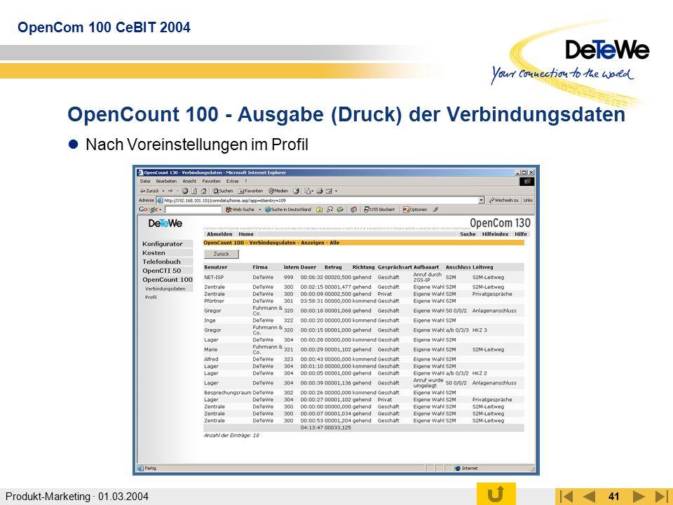 OpenCount 100 - Ausgabe (Druck) der Verbindungsdaten
