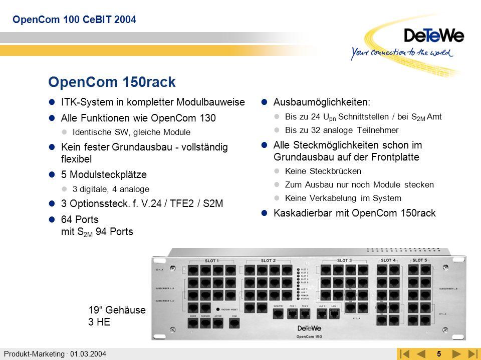 OpenCom 150rack ITK-System in kompletter Modulbauweise