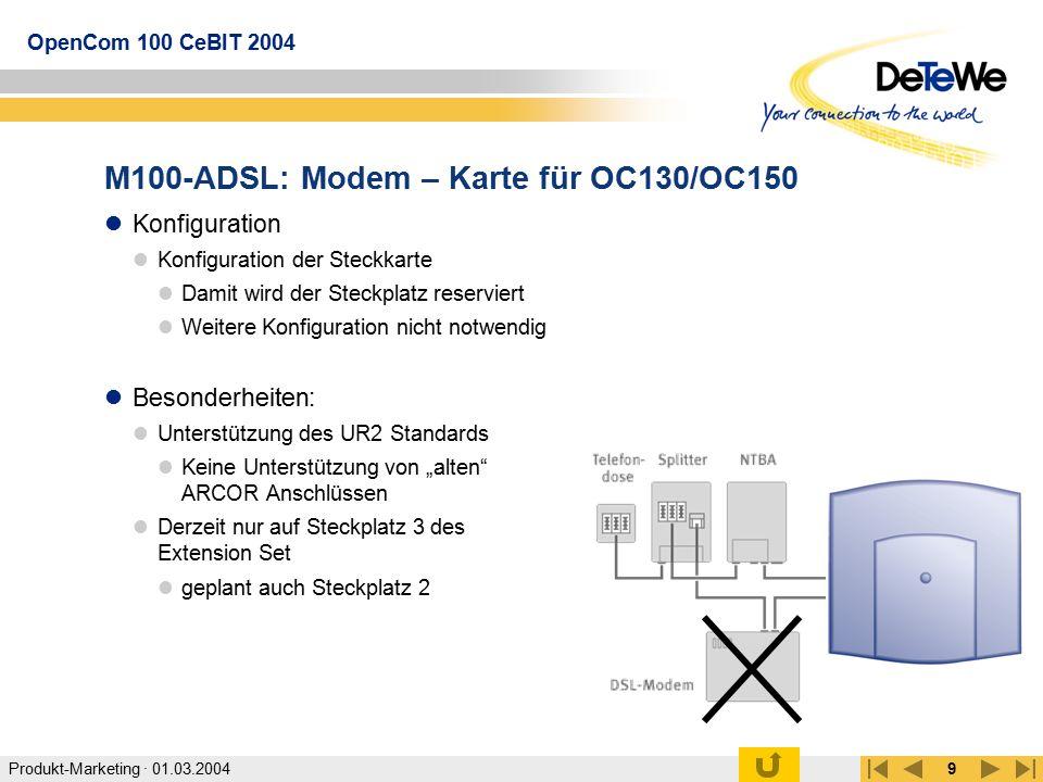 M100-ADSL: Modem – Karte für OC130/OC150