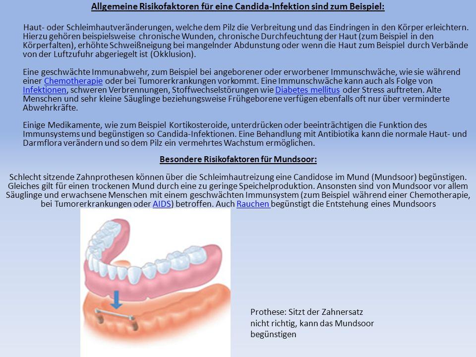 Allgemeine Risikofaktoren für eine Candida-Infektion sind zum Beispiel: