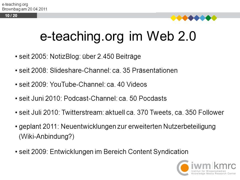 e-teaching.org im Web 2.0 seit 2005: NotizBlog: über 2.450 Beiträge
