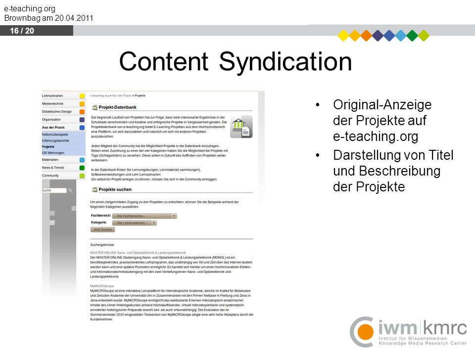 16 / 20 Content Syndication. Original-Anzeige der der Projekte auf e-teaching.org.