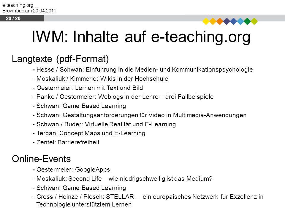 IWM: Inhalte auf e-teaching.org