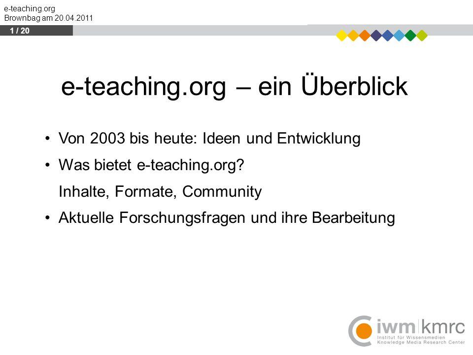 e-teaching.org – ein Überblick