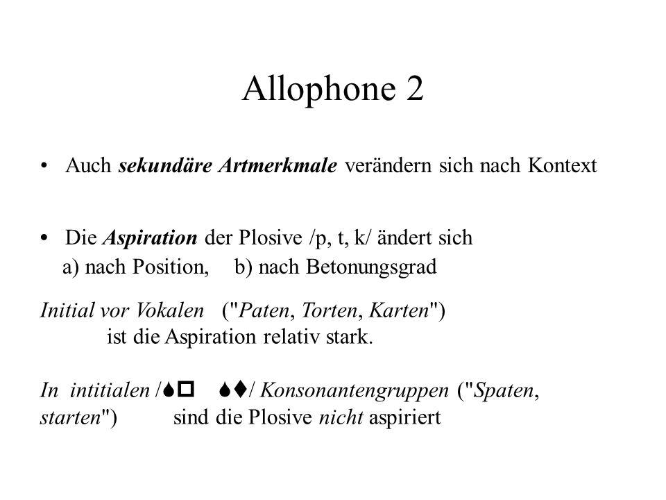 Allophone 2 Auch sekundäre Artmerkmale verändern sich nach Kontext