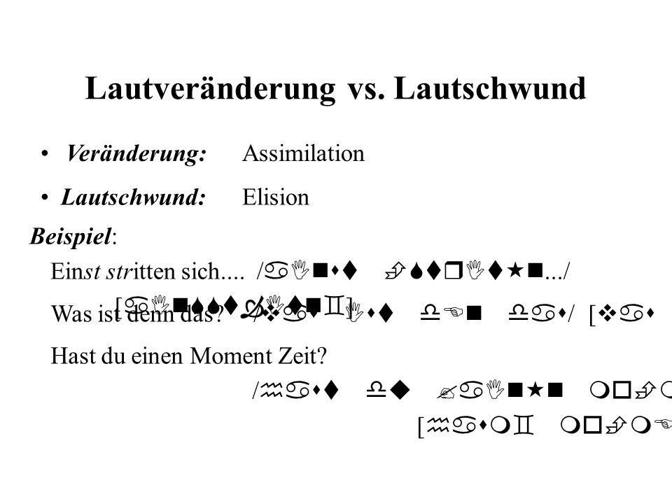 Lautveränderung vs. Lautschwund