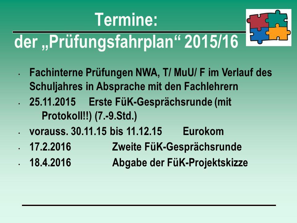 """Termine: der """"Prüfungsfahrplan 2015/16"""