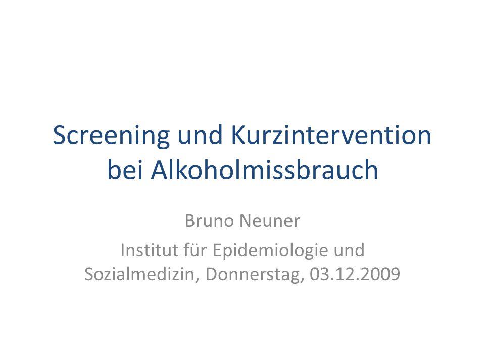 Screening und Kurzintervention bei Alkoholmissbrauch
