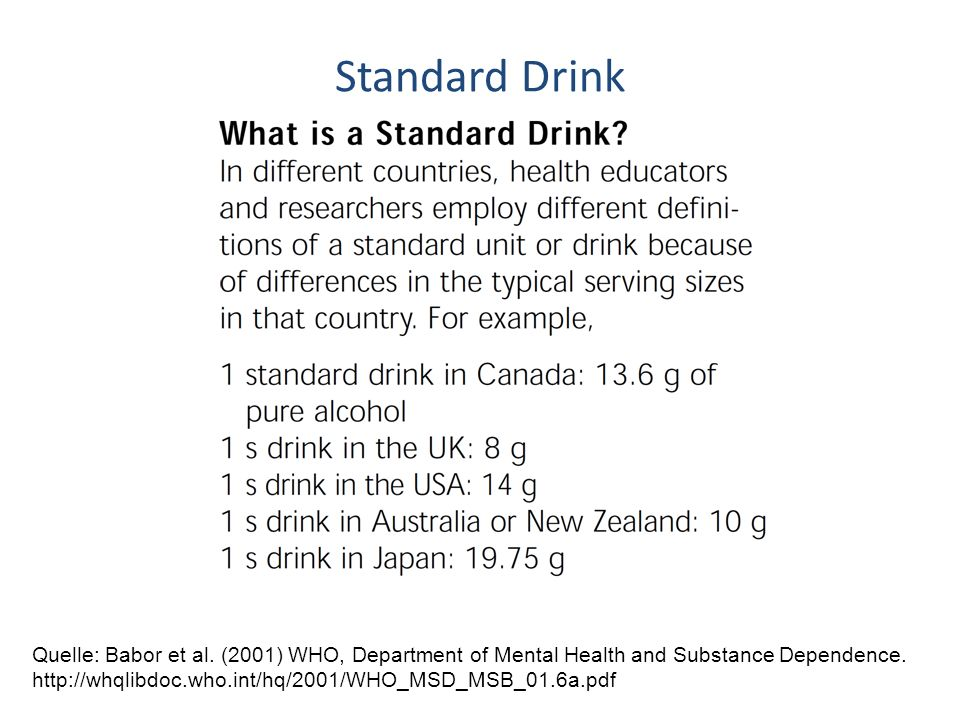 Standard Drink Quelle: Babor et al. (2001) WHO, Department of Mental Health and Substance Dependence.
